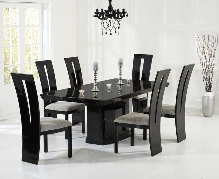 black dining table and six chairs collections